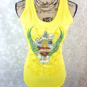 Harley Davidson Yellow Tank. Size Medium